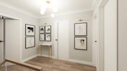korytarz_dekoracje, aranzacja_obrazy na scianie_architekt wnetrz_golaska studio