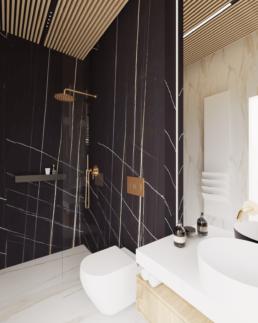 g2-projekt łazienki-nowoczesna lazienka-duze kafle-lazienka czarna-marmur-golaska studio-zielona gora achitekt