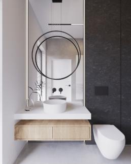 m1-projekt łazienki-nowoczesna lazienka-duze kafle-lazienka czarna-marmur-golaska studio-zielona gora achitekt