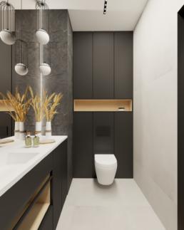 małe mieszkanie-mala lazienka-czarna lazienka-jak zaprojektować male mieszkanie- czerń i biel-salon- golaska studio - architekt wnętrz zielona gora
