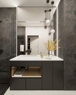 małe mieszkanie-mala lazienka-minimalistyczna lazienka czarna-jak zaprojektować male mieszkanie- czerń i biel-salon- golaska studio - architekt wnętrz zielona gora
