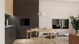 karmelowy apartament-salon z kuchnia-czarna kuchnia-kuchnia drewniana - projektowanie wnetrz zielona gora-golaskastudio Paulina Gołaska