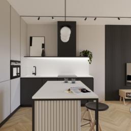 małe mieszkanie-projekt małego salonu z kuchnia-jak zaprojektować male mieszkanie- czerń i biel-salon- golaska studio - architekt wnętrz zielona gora