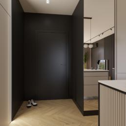małe mieszkanie-korytarz-projekt małego salonu z kuchnia-jak zaprojektować male mieszkanie- czerń i biel-salon- golaska studio - architekt wnętrz zielona gora