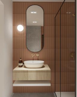 karmelowy apartament-nowoczesna lazienka projekt-brazowa lazienka-ruda-prysznic walkin-architekt-projektowanie wnętrz zielona gora