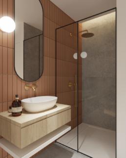 karmelowy apartament-nowoczesna lazienka projekt-brazowa lazienka-rudy kolor- brazowe wnetrza-boho-mala lazienka-prysznic walkin-architekt-projektowanie wnętrz zielona gora-golaskastudio