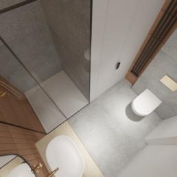 karmelowy apartament-nowoczesna lazienka- mala lazienka-projekt wnetrz-prysznic walkin-architekt-projektowanie wnętrz zielona gora-golaskastudio