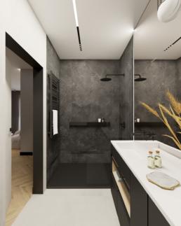 małe mieszkanie-mala lazienka-czarna lazienka-prysznic walkin-jak zaprojektować male mieszkanie- czerń i biel-salon- golaska studio - architekt wnętrz zielona gora