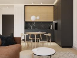 karmelowy apartament-salon z kuchnia-czarna kuchnia-kuchnia drewniana-stolarz zielona gora zabudowa-nowoczesna kuchnia-mala kuchnia-projekt wnetrz kuchnia i salon-architekt wnetrz zielona gora-golaskastudio