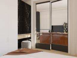 karmelowy apartament-nowoczesna sypialnia-szklane drzwi- salon z sypialnia-projekt wnetrz-architekt wnetrz zielona gora- paulina golaska studio
