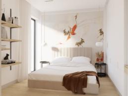 karmelowy apartament-nowoczesna sypialnia-szklane drzwi-tapeta ptaki-tapeta ilustracja-architekt wnetrz zielona gora- paulina golaska studio