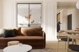 karmelowy apartament-nowoczesne mieszkanie - nowoczesny salon-przytulny salon projekt- brazowa kanapa-eklektyzm w mieszkaniu-nowoczesny projekt wnetrz-architekt wnetrz zielona gora- paulina golaskastudioprojekt malego mieszkania