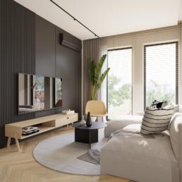 małe mieszkanie-projekt małego salonu-jak zaprojektować male mieszkanie- czerń i biel-salon- golaska studio - architekt wnętrz zielona gora