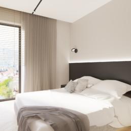 małe mieszkanie-sypialnia- jak zaprojektować male mieszkanie- czerń i biel-salon- golaska studio - architekt wnętrz zielona gora